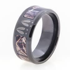 mens camo wedding bands men s black deer tracks and camo ring titanium buzz