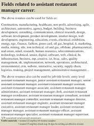 Restaurant Owner Job Description For Resume Top 8 Assistant Restaurant Manager Resume Samples