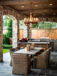 Wicker Rattan Dining Chairs Rustic Summer Kitchen Concept Design Offer Stained Wooden Ceiling