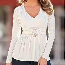 belted blouse blusas casual v neck sleeve buckle belted blouse tops black