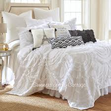Ruffle Bedding Shabby Chic by Blissful Cottage White Ruffles French Market Queen Bedding
