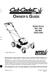 cub cadet lawn mower 950 959 user guide manualsonline com