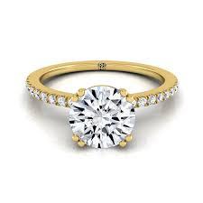 circle engagement ring diamond prong engagement ring 14k yellow gold rockher