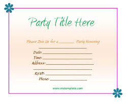 invitation for party template birthday party invitation template