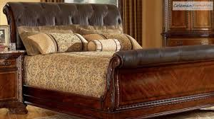 old world leather sleigh bedroom collection from art furniture