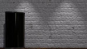 virtual studio brick wall background with green screen monitor