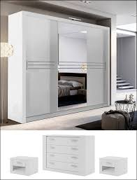 Havana Bedroom Furniture by Bedroom Set White Large Mirrored Wardrobe Chest 2 Bedside