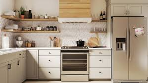 white kitchen cabinets with taupe backsplash modern farmhouse kitchen design