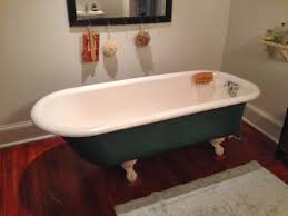 refinish cast iron bathtub bathroom cozy lowes wood flooring with white baseboard and green