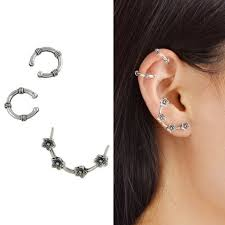 cuff earrings silver flower cartilage ear cuff earring set rosegal