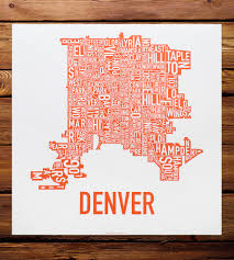 Chicago Neighborhood Map Poster by Denver Neighborhood Map Art Print Features Local Pride Ork