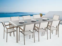 outdoor dining set polished granite top and white chairs grosseto