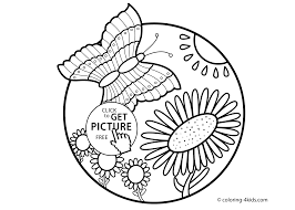 nature coloring page butterfly with flowers for kids printable