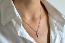 cross necklace silver cross pendant silver tone chain for