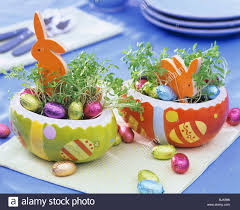 ceramic easter eggs two easter nests in ceramic easter eggs stock photo royalty free