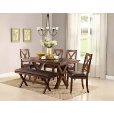 shaker espresso 6 piece dining table set with bench surprising benchwright button tufts upholstered rolled back parsons