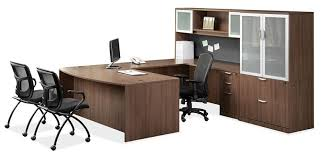 u shaped desk with lateral file and glass door storage
