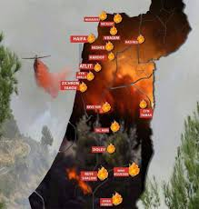 Fl Wildfire Map map of fires in israel israelpalestine liveuamap com