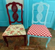 repurposed tablecloth kitchen chairs makeover thrifty rebel vintage