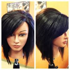 stacked hair longer sides inverted stacked bob with swoop bangs hair styles and nails