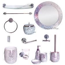 bathroom accessories hom pink and crystal bathroom accessories