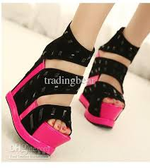 Comfortable Wedge Shoes Wholesale Sandals Rivets Fluorescent Pink High Heels