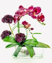 Artificial Flower Arrangement In Vase Purple Orchid Sedum Silk Flower Arrangement