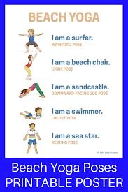 yoga poses pictures printable beach yoga poses for kids printable poster beach yoga yoga
