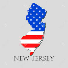 New Jersy Flag Map Of The State Of New Jersey And American Flag Illustration