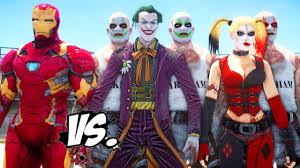 Joker And Harley Quinn Halloween Costumes by Iron Man Vs Joker U0026 Harley Quinn Epic Superheroes Battle Death