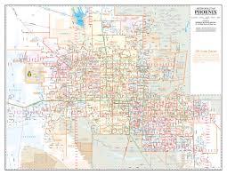 Map Phoenix Area buy metro phoenix ac streets zip code wall map laminated yellow 1