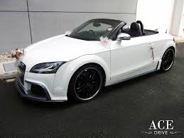 convertible audi white audi tts with wedding car deco