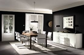 modern black and white living room with brown accent interior