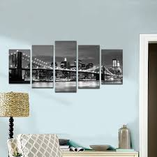amazon com wieco art broooklyn bridge night view 5 panels