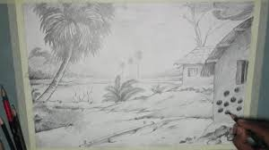 how to draw a village scenery with pencil step by step youtube