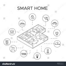 elements of home design monochrome smart home control system concept stock vector