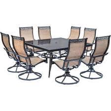 Iron Patio Dining Set 8 9 Person Square Metal Patio Furniture Patio Dining