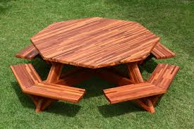 octagon picnic table plans with umbrella hole octagonal picnic table options 6 diameter tabletop attached
