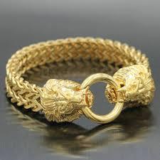 mens clasp bracelet images Mens gold plated double african lion face chain bracelet animal jpeg