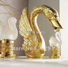 2017 gold finish pvd bathroom basin sink swan faucet swan lavtory