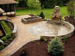 Slate Rock Patio by Outdoor Fireplaces Projects Hedberg Landscape And Masonry
