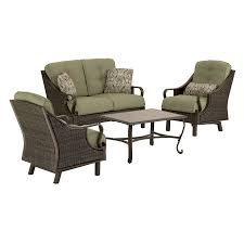 Patio Furniture Set by Shop Hanover Outdoor Furniture Ventura 4 Piece Wicker Patio