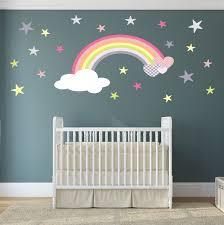 rainbow wall decal girls wall stickers nursery baby room zoom