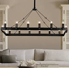 Candle Pendant Light Aiwen Rectangular Wrought Iron Candle Chandelier Pendant Light