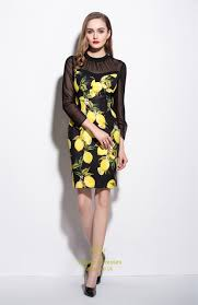 black sheer illusion neckline lemon print cocktail dress vampal