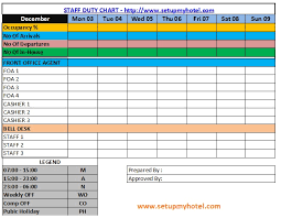 staff duty roster duty chart sample format