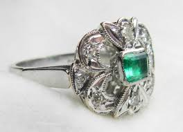 emerald ring 18k white gold emerald ring columbian emerald ring