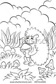 coloring pages cute hedgehog holds stock vector 397344085