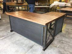 Modern Industrial Desk L Shape Iron Crossbar And Oak Office Desk Metal Wood Furniture