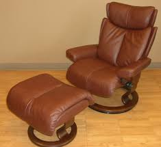 stressless magic large royalin brown leather recliner chair and